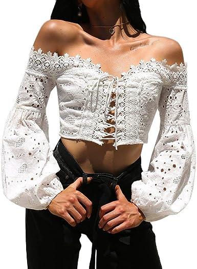 Camiseta Tirantes Mujer Riou Sexy Halter sin Mangas Boho Camisola Top de Mujer Encaje Chaleco Corto Basica Camiseta Suelto Verano Tops Casual Fiesta para Mujeres Dama: Amazon.es: Ropa y accesorios