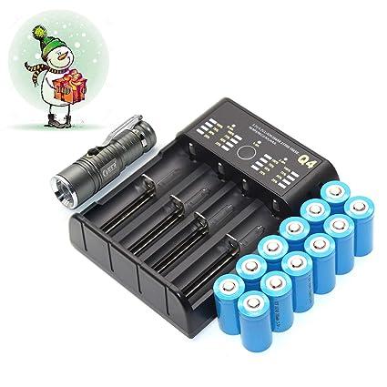 12-Pack 16340 CR123A 3.7V recargable Li-ion Batería + USB 4 ...