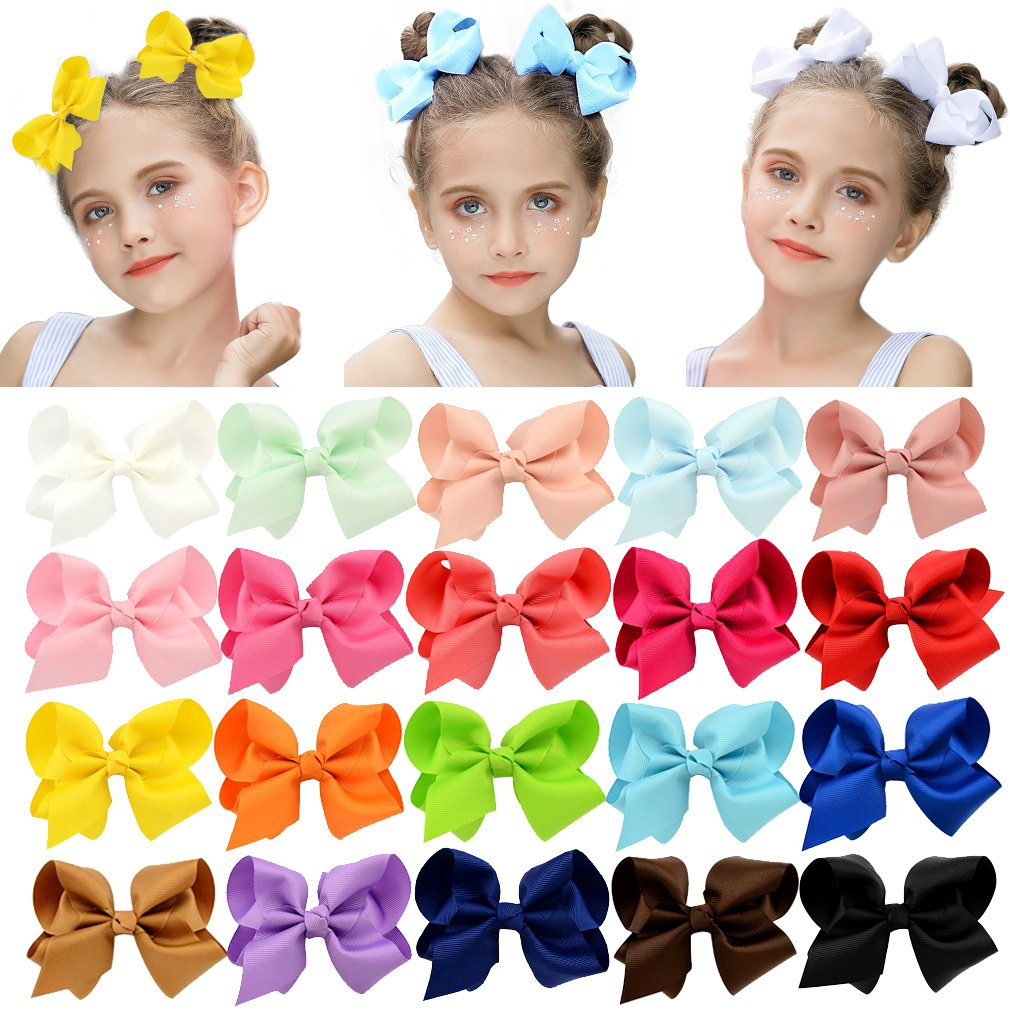 4in Small Bow Bundle- 20 Pack Variety Pack Fabric Bows and Headwraps Bullet Fabric Bows and Headwraps Stretch Fabric Bows