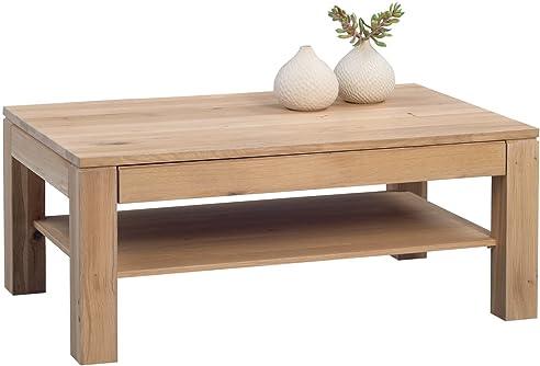 Couchtisch   JORGE   Tisch Inkl. Schublade Eiche Bianco Massiv Geölt 105x65  Cm