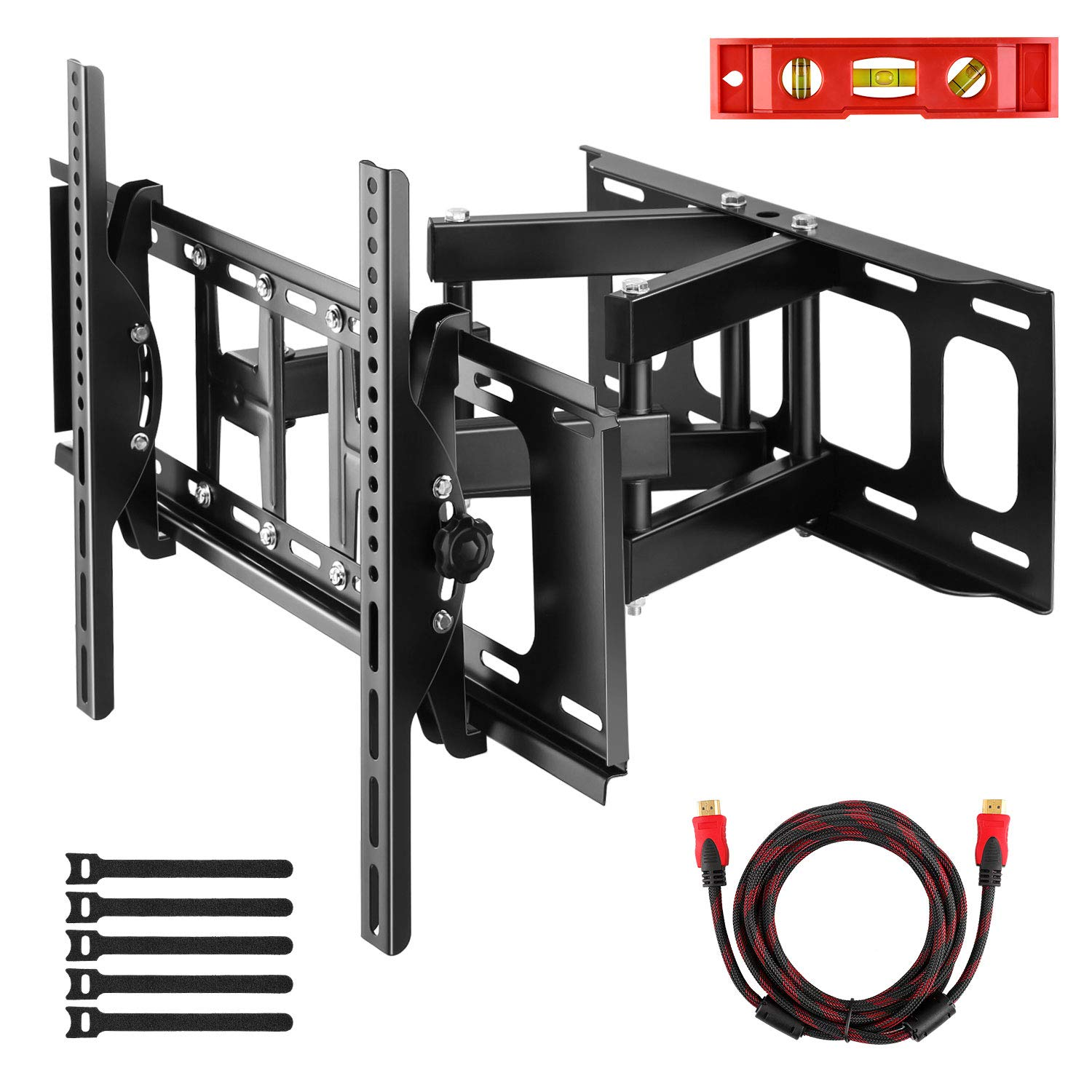 Yome Full Motion Articulating TV Wall Mount Extension Tilt Bracket for 37-70'' Flat Screen TV up to 121LB VESA 600x400 with Swivel Dual Arm, Fit 8/16/18'' Studs, Include 10'' HDMI Cable 6'' Magnetic Level