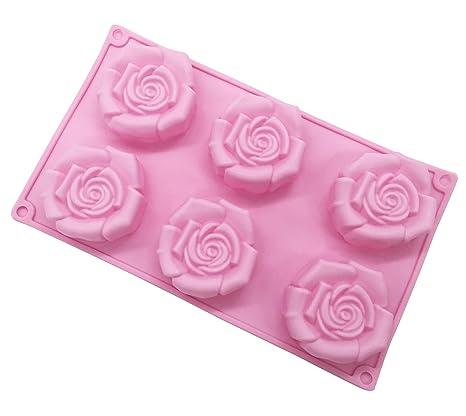 Molde de silicona para jabón grande, molde de rosa, molde para hornear tartas,