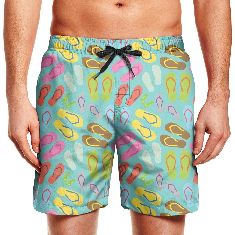 COVASA Cute Rainbow flip Flops Loose Mens Beach Board Shorts,