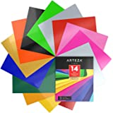 """Heat Transfer Vinyl Set, 14 Flexible HTV Sheets, 10"""" x 12"""" Each, Super Sturdy & Easy to Weed, 100% Safe & Nontoxic, Use with Any Craft Cutting Machine, Assorted Brilliant Colors, Boxed, by Arteza"""