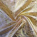 """Metallic Paisley Brocade Fabric 60"""" By Yard in Red Yellow White Purple Blue (Pink / Gold) offers"""