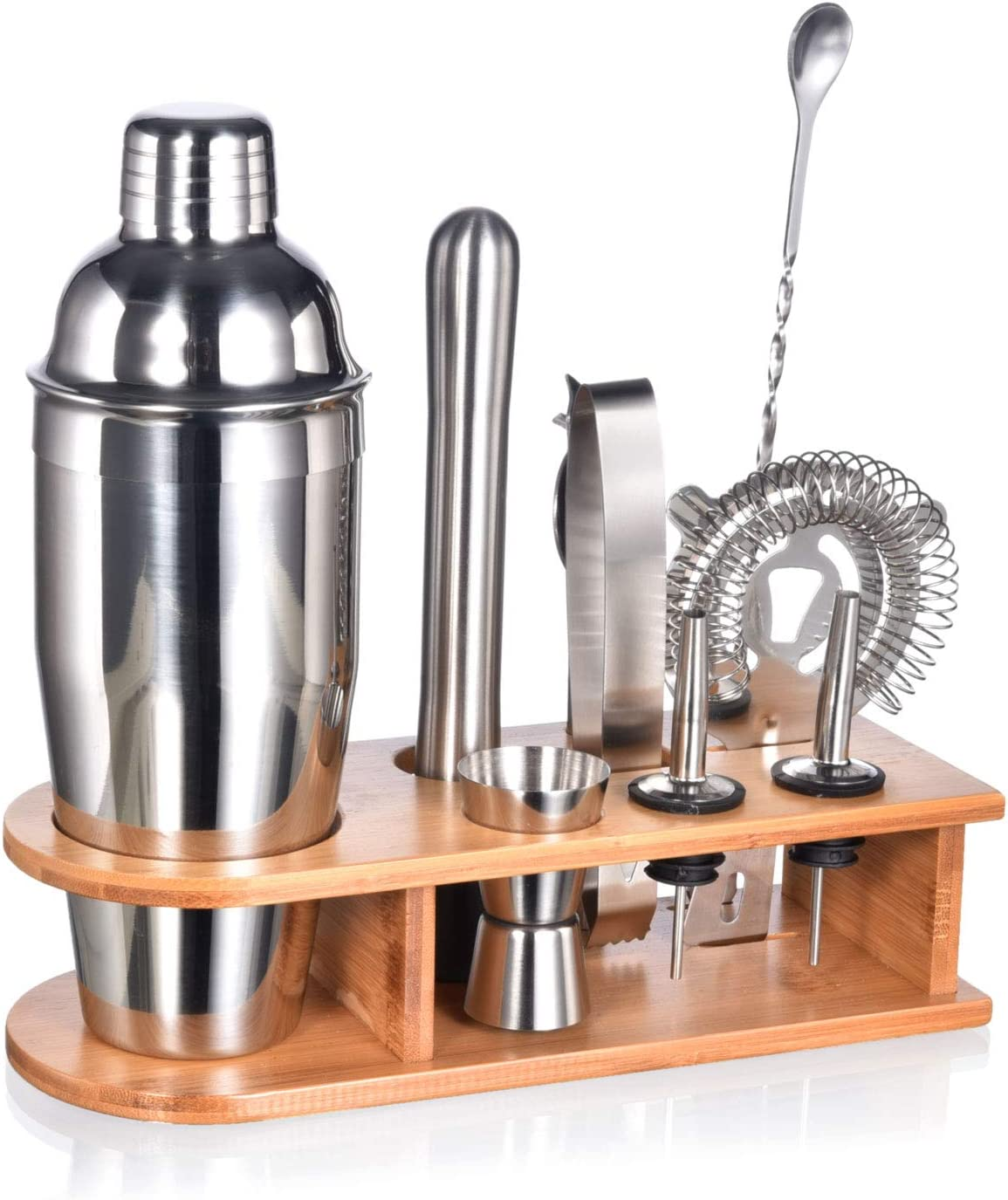 Essential Bar Accessories and Bonus E-Book for Bartending Enthusiasts Premium Bartender Kit Engraved Recipes Bamboo Organizer Stand The Perfect Gift by Jake /& Jill 12 Piece Cocktail Shaker Set
