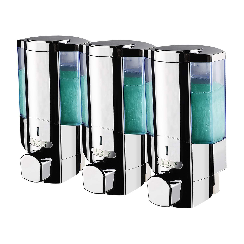 SVAVO V-6103 Triple Chambers Plastic Wall Mounted Liquid Hand Soap Dispenser For Hotel Bathroom White, Chrome 350ml3 Pack of 1 by SVAVO