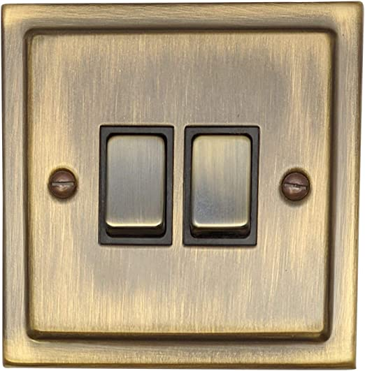 G/&H TAB310 Trimline Plate Antique Bronze 2 Gang Double 13A Switched Plug Socket