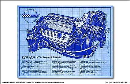 1992 1996 c4 lt1 corvette engine blueprint series art print 1988 Corvette Vacuum Diagram