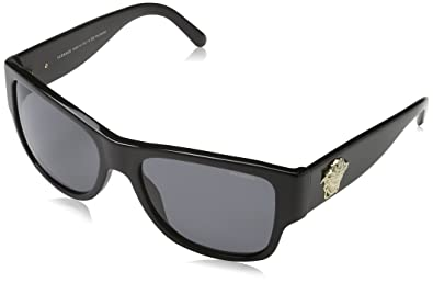 6093e9a3a90 Amazon.com  Versace Women s VE4275 Black Polarized Grey  Versace  Clothing