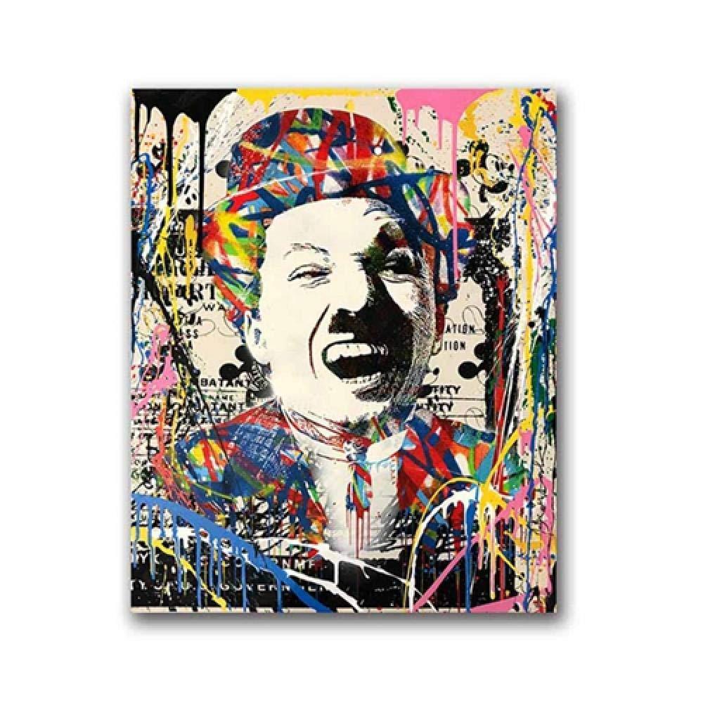 Impressions Sur Toile Peintures Murales DArt D/écor,Impression Haute D/éfinition De LAffiche Moderne Nordique Street Art Mural Chaplin Graffiti Peinture Suspendus Id/éal Pour S/éjour Cuisine Terrass