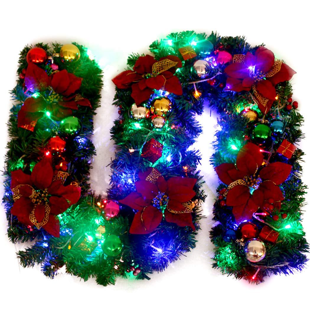 Funpa 8.86ft Christmas Garland Artificial Pine Garland Hanging Decoration with Light