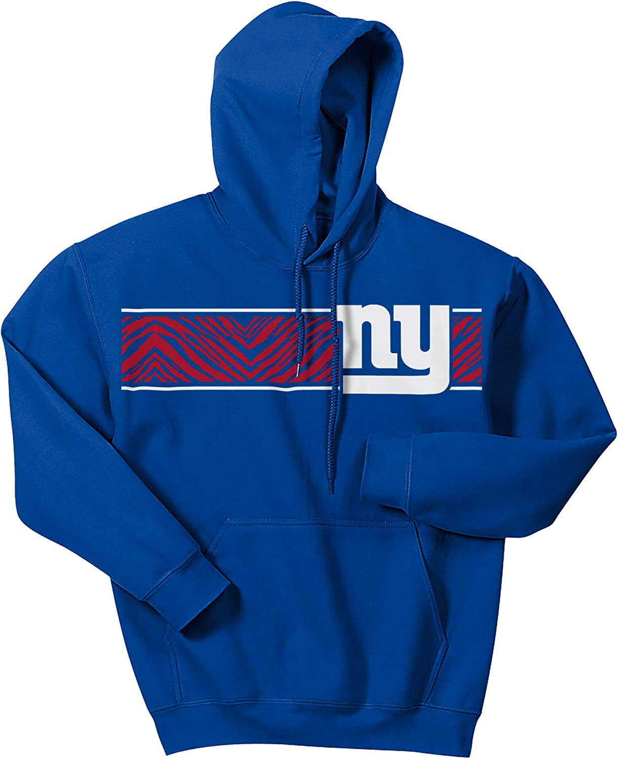 Large Zubaz NFL New York Giants Mens Zebra Logo Hoodie Royal Blue