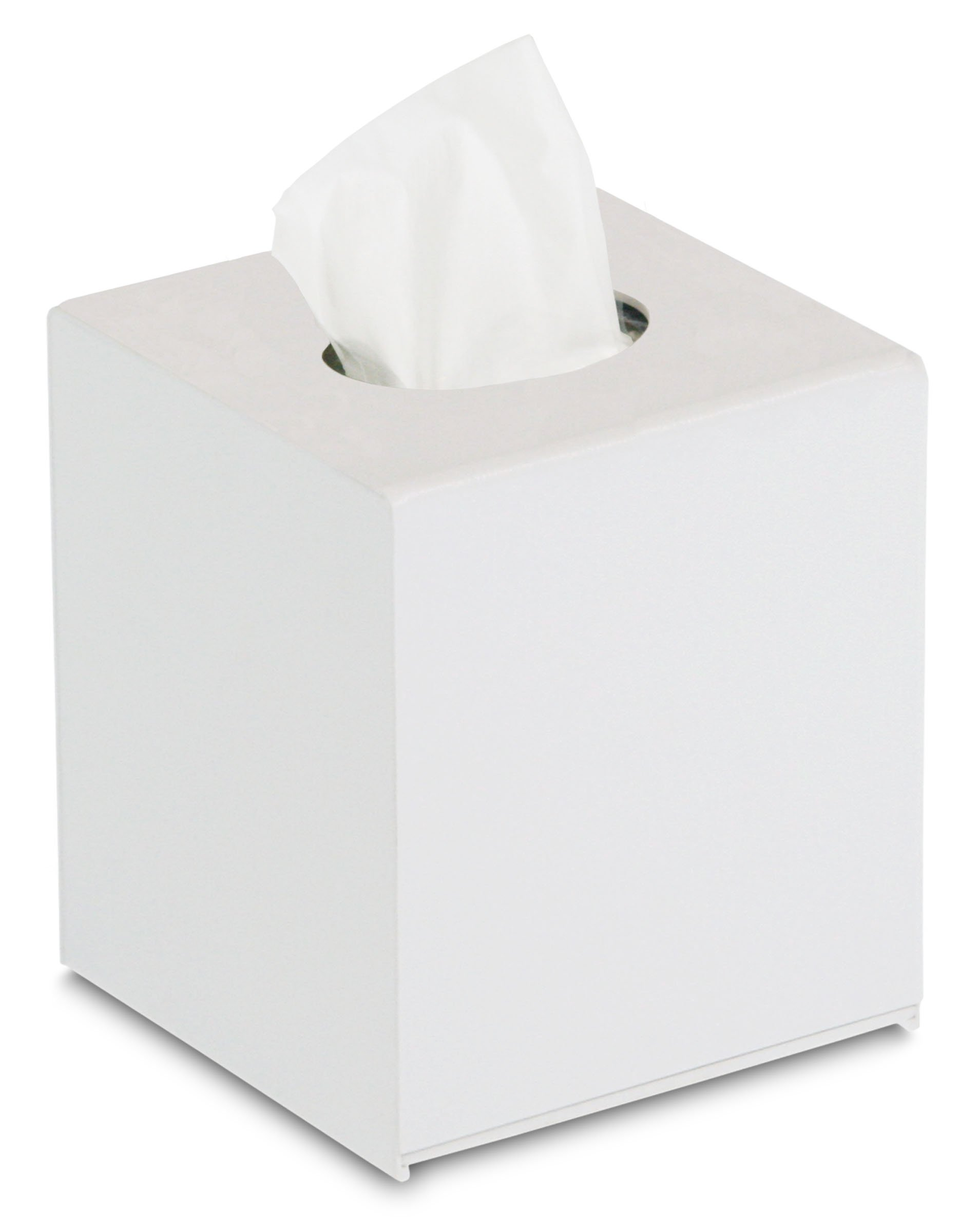 TrippNT 50995 Wall Mountable Cube Kleenex Box Holder, 5'' Width x 6'' Height x 5'' Depth, White