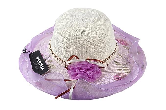 Dantiya-moda donna cappello da sole elegante piegevole (viola ... 3cf041f1a8fe