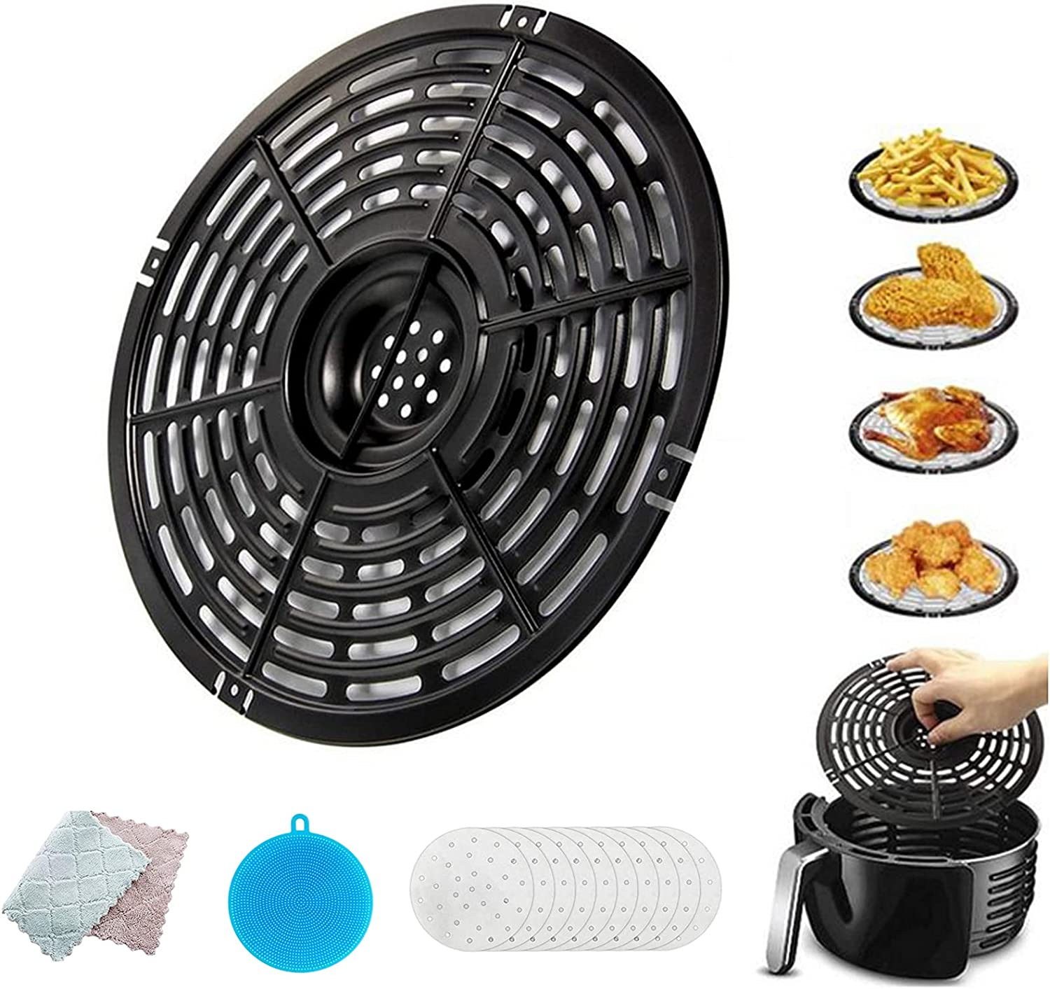 Air fryer Replacement Grill Plate Non-Stick Fry Pan Air Fryer Accessories Suit For GoWise PowerXL Gourmia Dash Emeril Lagasse 5QT Crisper Plate with Silicone Sponge Cleaning Cloth and Filter Paper