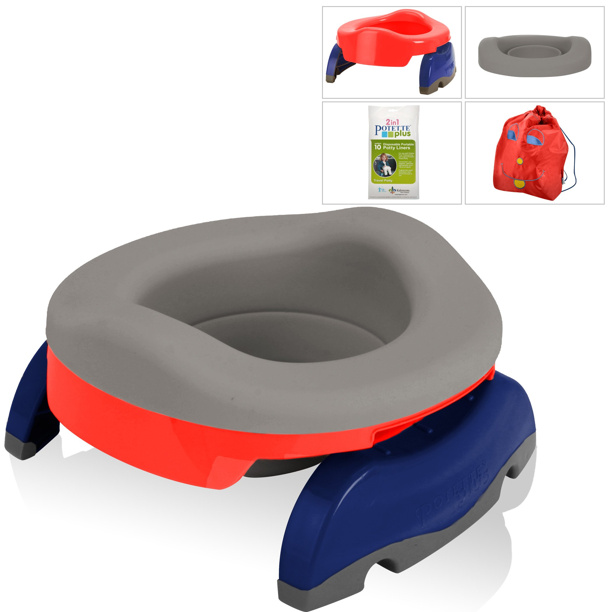 Kalencom Potette Potty Value Bundle: Potette Plus 2-in-1 Travel Potty | Home-Use Collapsible Reusable Potty Liner | 10-Pack Disposable Potty Liners | Drawstring Carry Bag (Red/Gray)