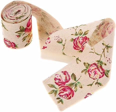 Craft Jute Burlap Floral Print Vintage Wedding Trimming Fabric Hessian Ribbon