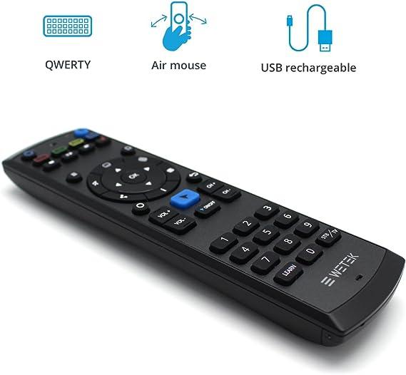 Mini control remoto Teclado inalámbrico WeTek Pro Remote Mando Universal a distancia Teclado QWERTY Air Mouse Connector Audio 3.5mm Bateria Lition USB recargable Compatible Android TV Box,PC,Smart TV: Amazon.es: Electrónica