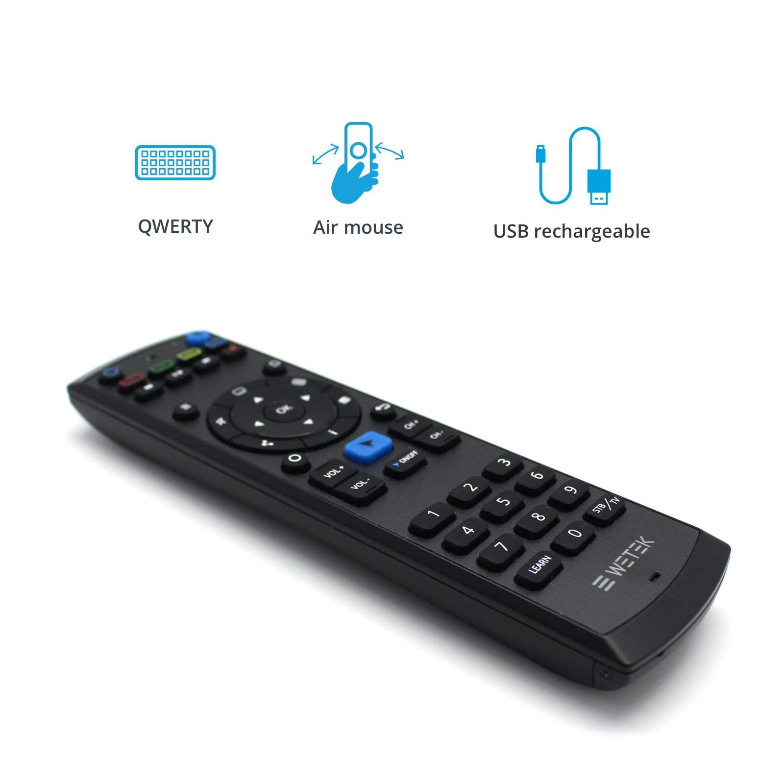 WeTek Pro Remote - Universal Remote Infra Red with QWERTY Keyboard and Air Mouse 3.5mm Audio Jack USB Rechargeable