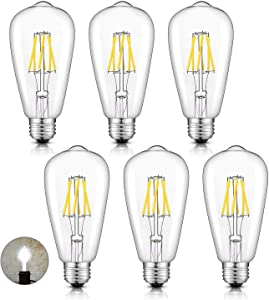 CRLight 5000K 6W Dimmable LED Edison Bulb Daylight White Glow, 70W Equivalent 700 Lumens E26 Medium Base, Vintage Style ST64 Clear Glass LED Filament Light Bulbs, 6 Pack