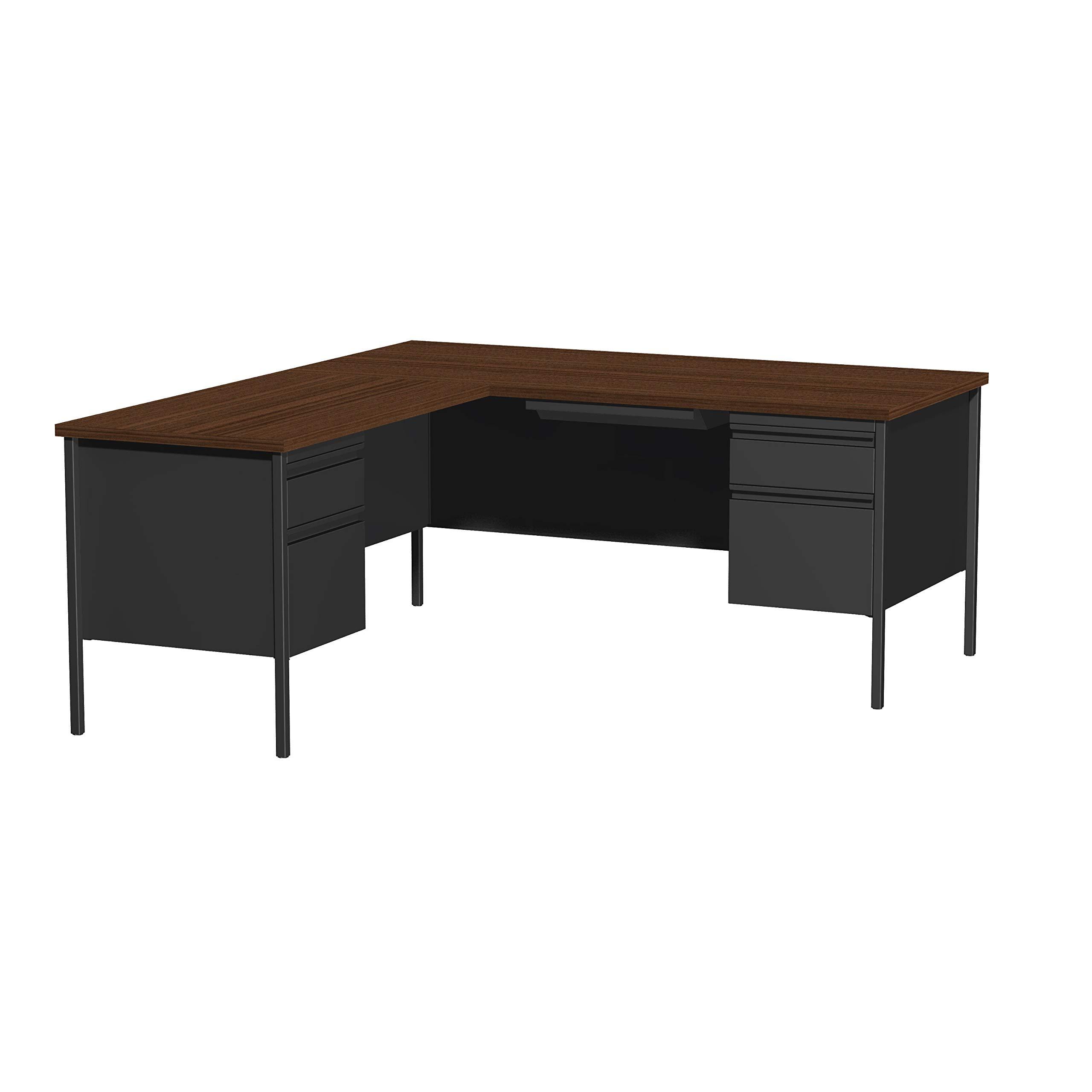 HL10000 Series Computer Desk Laptop Table L-Shape Left Orientation Double Pedestal Writing Desk Home Office Workstation Metal, Black and Walnut