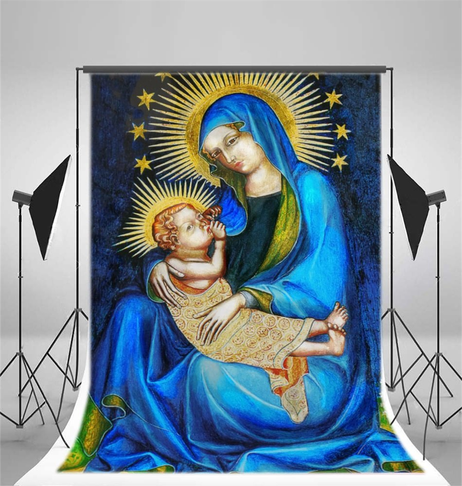Amazon.com : AOFOTO 10x12ft Virgin Mary Backdrop Jesus Nativity ...