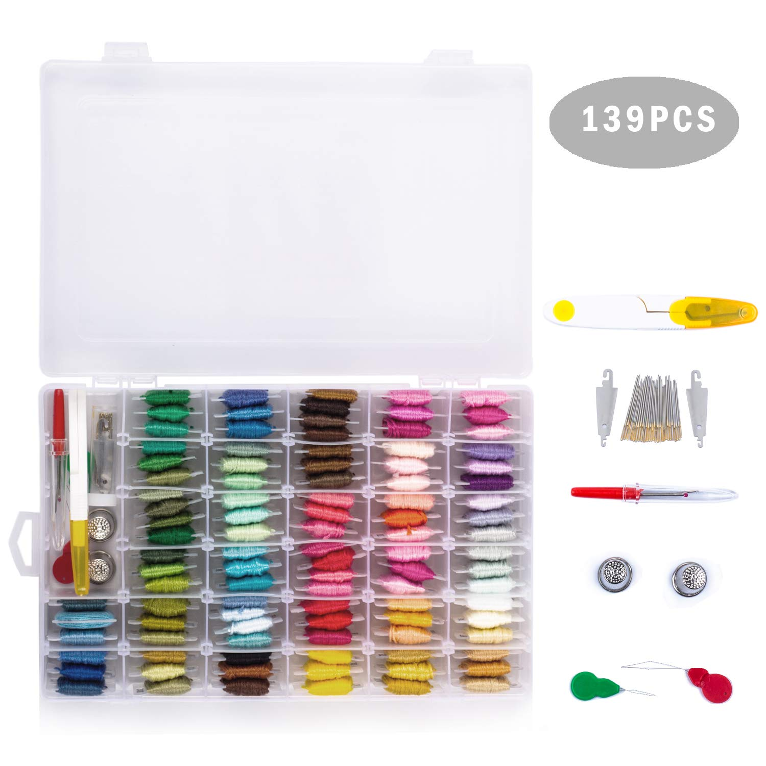 Embroidery Floss 139pcs Embroidery Thread String Kits 100 Skeins Premium Rainbow Floss Bobbins and Cross Stitch Kit with Organizer Storage Box Toopify