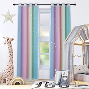 """Drewin Curtains for Girls Bedroom 84 Inches Length Stars Cut Out Colorful Curtain Kids Room Darkening Rainbow Ombre Stripe Double Layer Window Drapes Tulle Nursery Decor, 2 Panels 52""""Wx84""""L"""