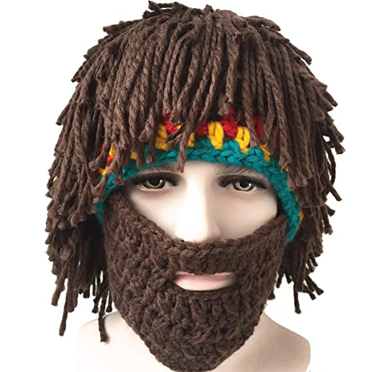 6d0331a0068 Creative Winter Hat with Knitting Wool Hair and Beards at Amazon Men s  Clothing store