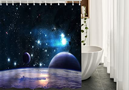 Universe Shower Curtains Decor By MigantPlanets Stars In The SpaceWaterproof Polyester Fabric
