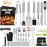 34PCS BBQ Grill Accessories Tools Set, Stainless Steel Grilling Tools with Carry Bag, Thermometer, Grill Mats for Camping/Backyard Barbecue, Grill Tools Set for Men Women