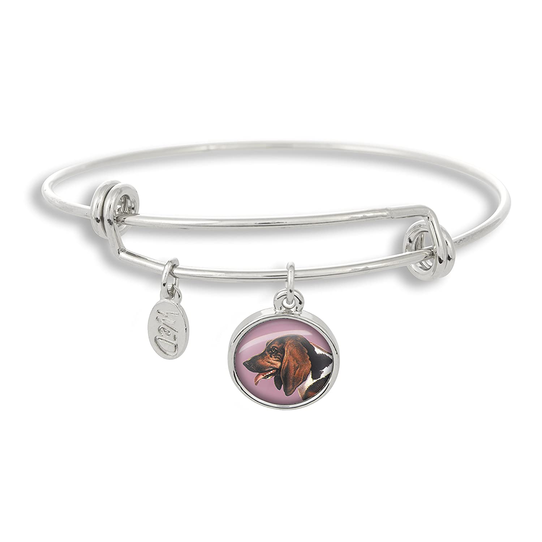 The Adjustable Band Bangle Bracelet featuring the Bassett Hound