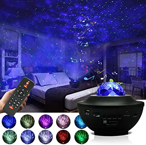 Amazon Com Starry Night Light Projector For Bedroom Sky Galaxy Projector Ocean Wave Projector Light With Remote Control Bluetooth Music Speaker As Gifts For Birthday Party Bedroom Home Improvement