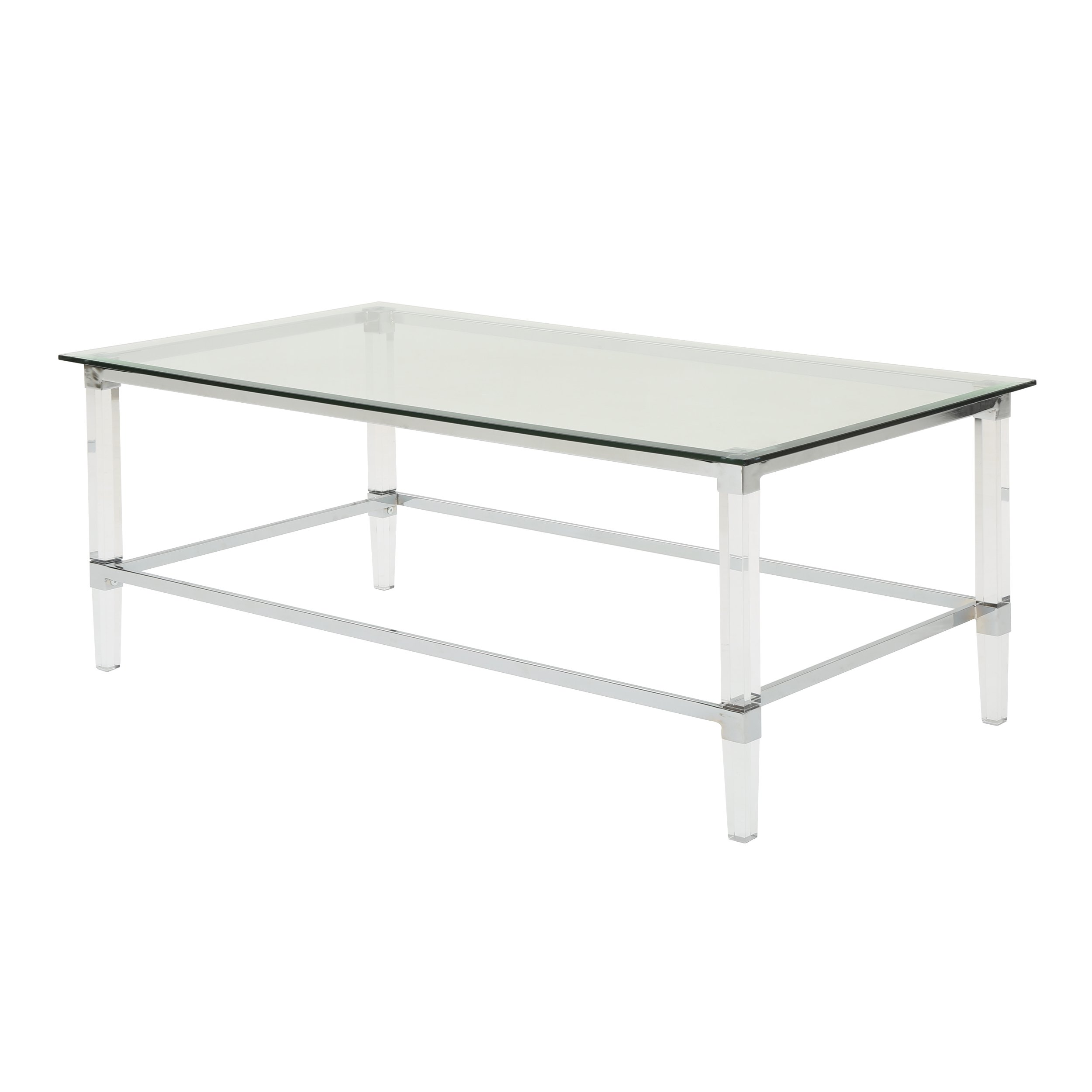 Christopher Knight Home Bayor Modern Tempered Glass Coffee Table with Acrylic and Iron Accents, Clear by Christopher Knight Home