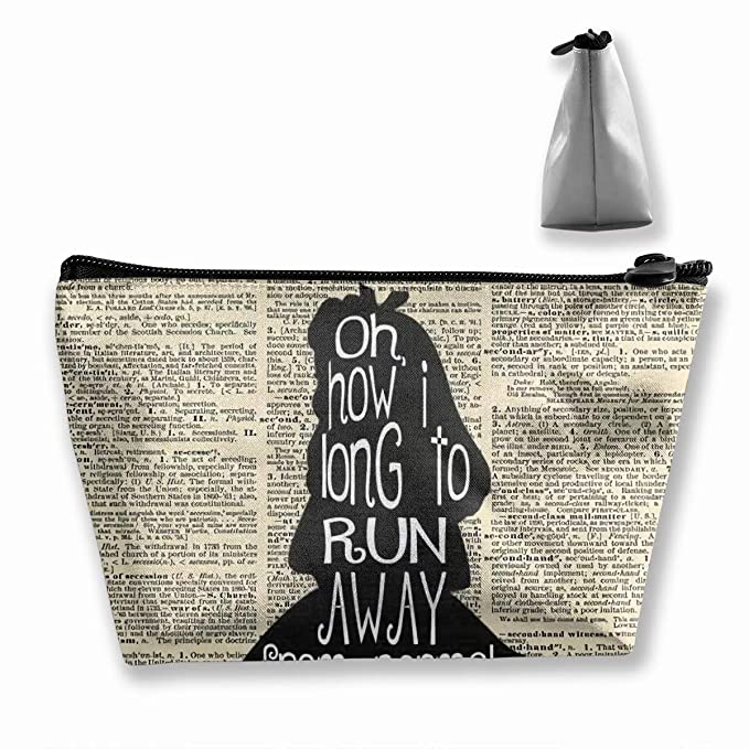 b5d360f27bb7 Amazon.com   JEFFERYjSPARKS Alice in Wonderland Quote Dictionary  Trapezoidal Bag Receive Bag Toiletry Travel Bag for Brushes Jewelry  Accessories Collection ...