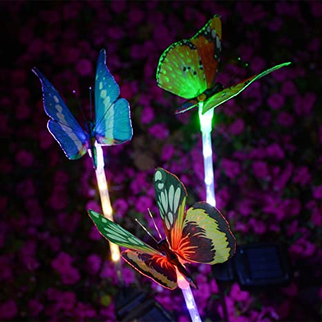 Charmant Outdoor Solar Butterfly Stake Lights, 3 Pack Homeleo Fiber Optic Butterfly  Solar Powered Lights,