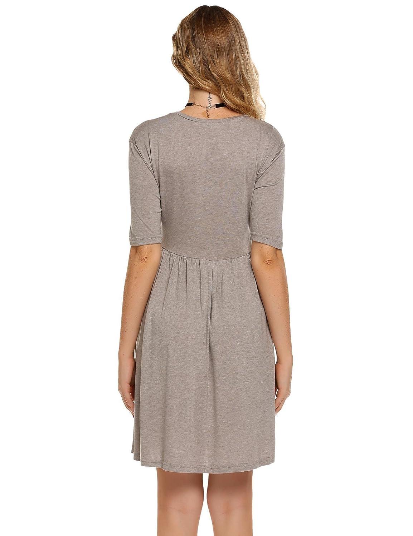 Zeagoo Womens Scoop Neck Half Sleeve Asymmetric Hem Pleated High Low Casual Midi Dress