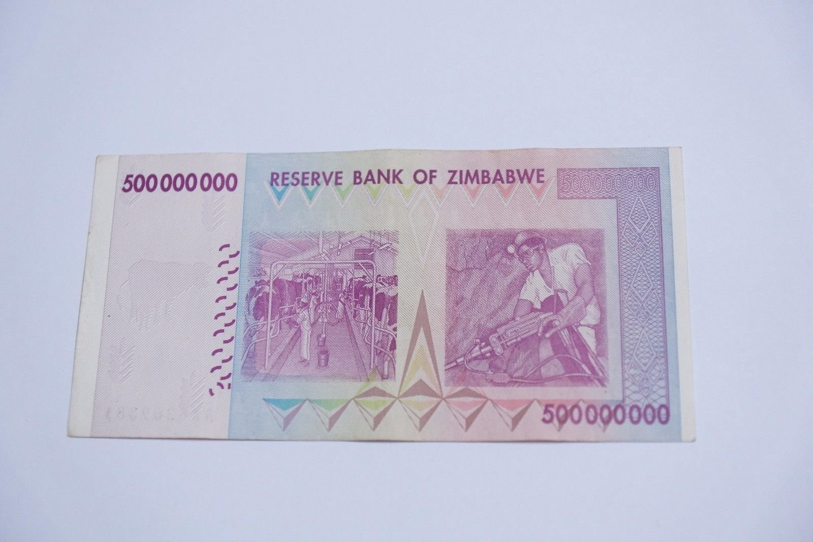 100 x 500 Million zimbabwe Circulated 2008 series AA/AB - /100 Trillion series- Genuine Rare