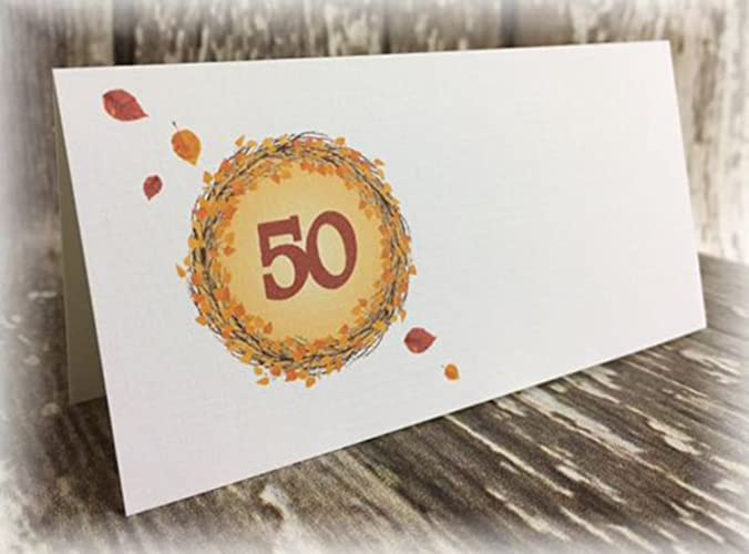 Tischkarte Namenskarte Blatter Runder Geburtstag 40 50 60 70 80 90
