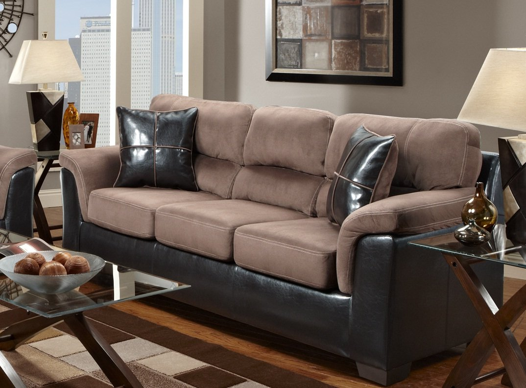 Amazon.com: Roundhill Furniture Laredo 2 Toned Sofa And Loveseat Living  Room Set, Chocolate/Brown: Kitchen U0026 Dining