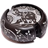 "Artist Haat Handcrafted Round Soapstone Coaster with Elephant Design Carving Work (Black, 3""X3"" Inch, Set Of 7)"