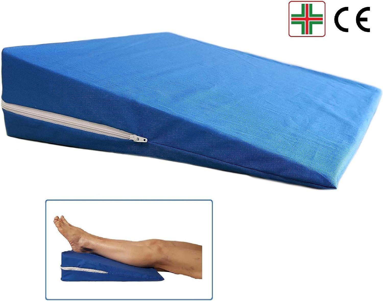 ALZAGAMBE Cuscino a Cuneo Ortopedico per le Gambe e i Piedi Terapeutico per Ginocchia Rialzo Guanciale da Letto Antireflusso Blu Fodera in Cotone con Ampia Cerniera