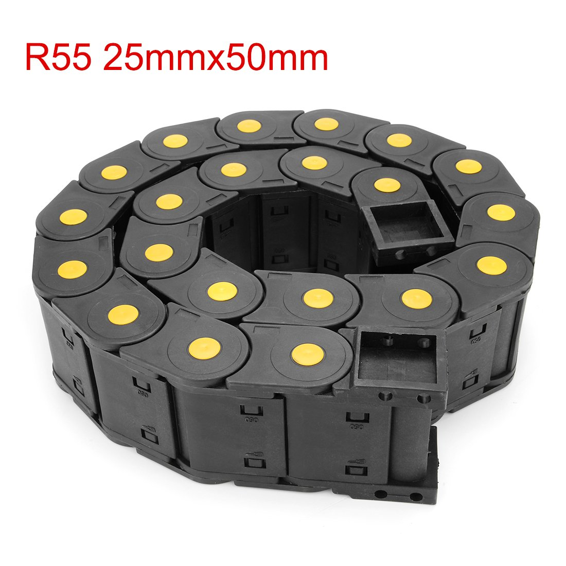 uxcell R38 18mm x 25mm Plastic Semi Closed Cable Wire Carrier Drag Chain 1M Length Black