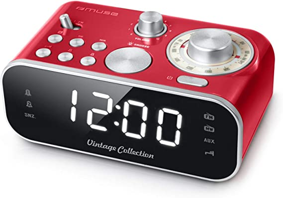 Muse M-18 - Radiodespertador Retro con Pantalla LED, Dos alarmas, Regulable (FM, MW, AUX), Color Rojo