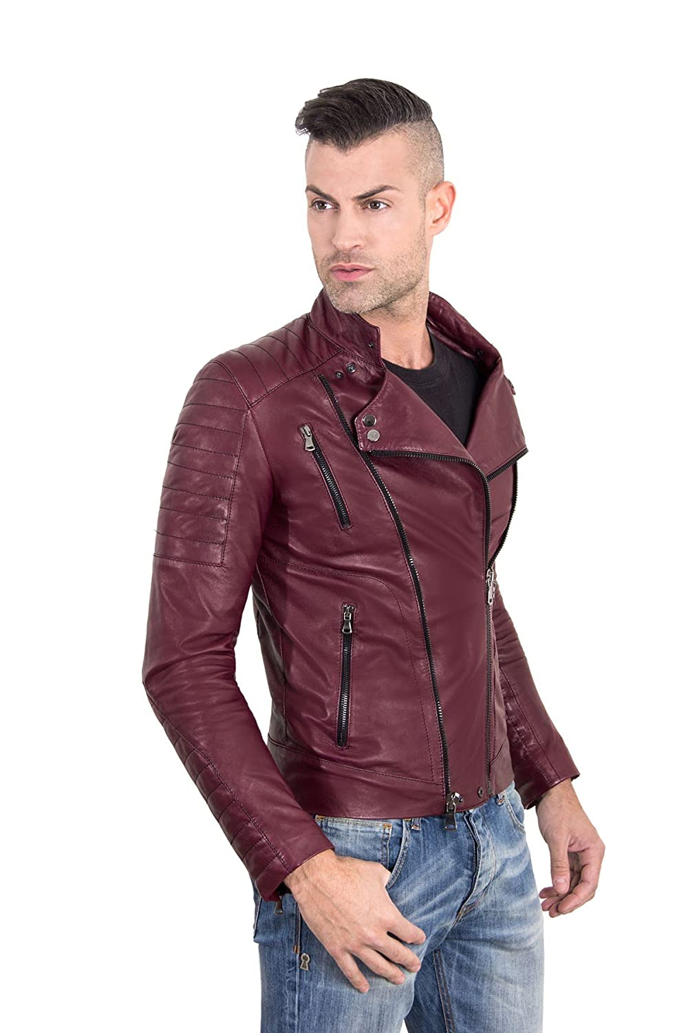 D'Arienzo Giacca in Pelle Uomo Made in Italy Bordeaux Vera