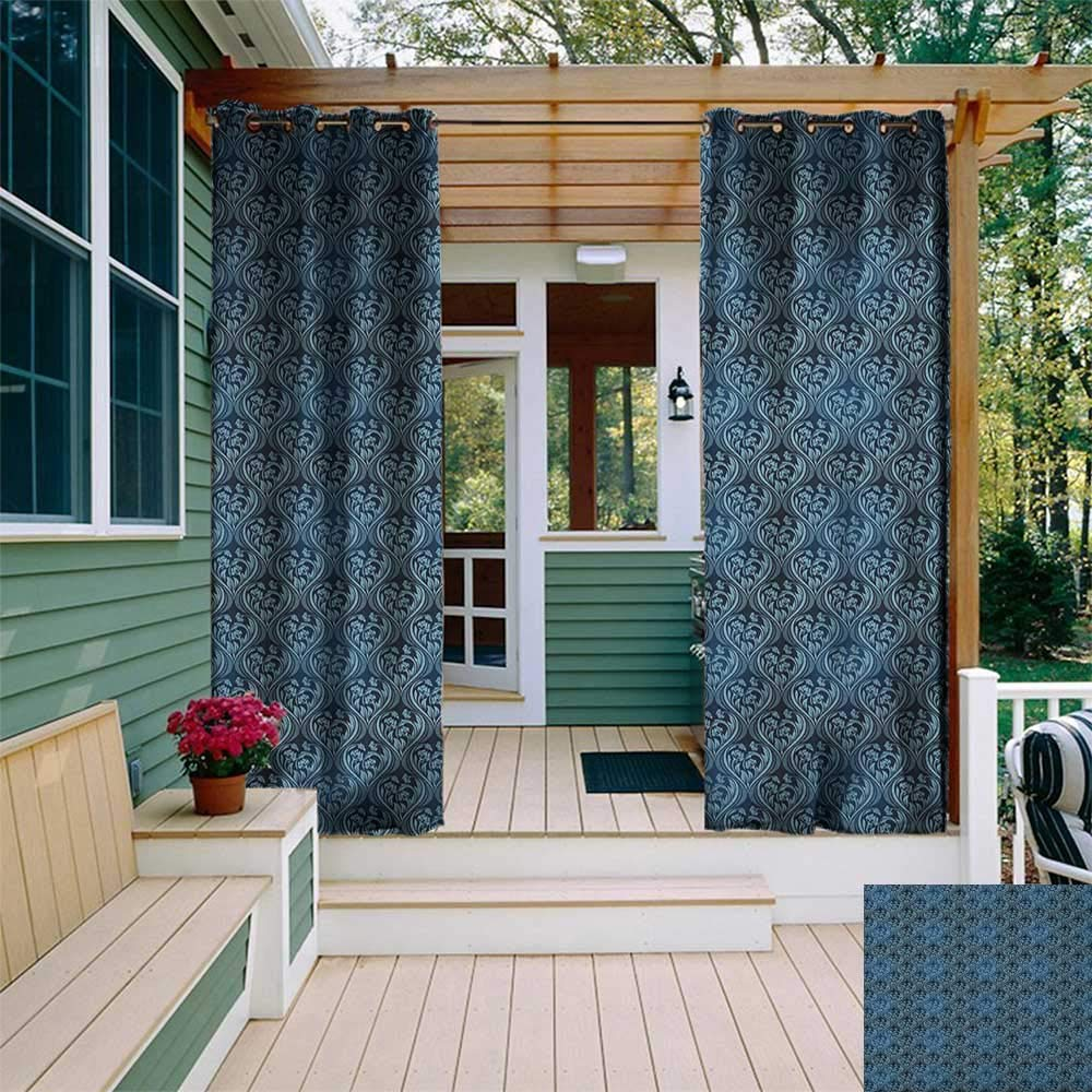leinuoyi Victorian, Sun Zero Outdoor Curtains, Ornamental Renaissance Flourish with Venetian Design in Blue Shades, Outdoor Curtain Set for Patio Waterproof W96 x L96 Inch Dark Blue and Pale Blue