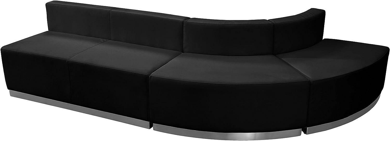 Flash Furniture HERCULES Alon Series Black Leather Reception Configuration, 3 Pieces