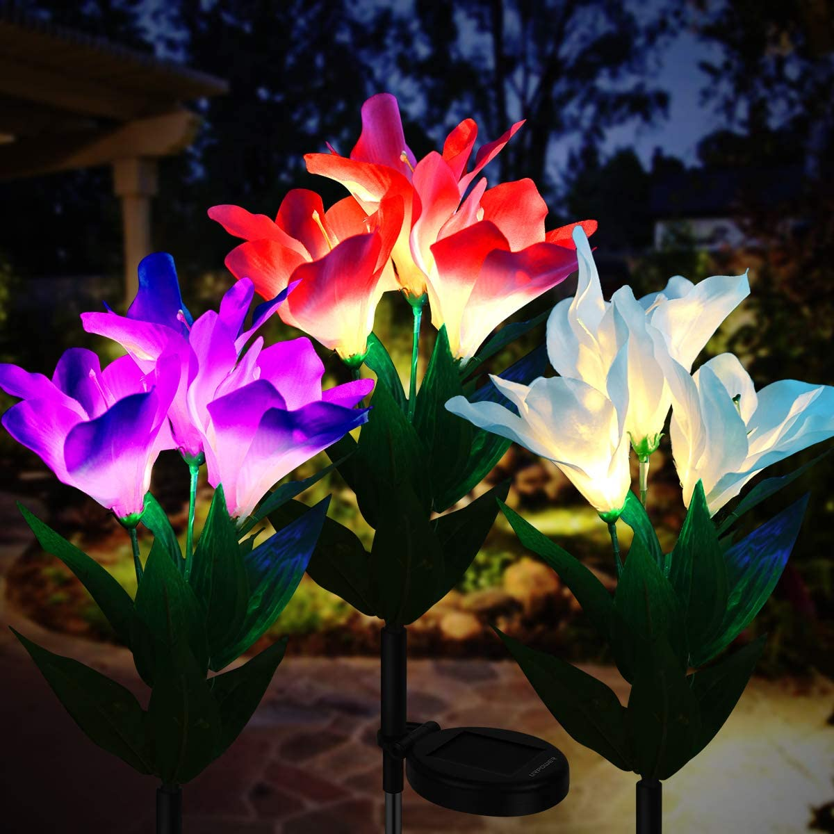 URPOWER Solar Lights IP65 Waterproof Solar Lights Outdoor Multi-Color Changing LED Solar Flower Lights Garden Lights Decorative Yard Lights Path Lights Dusk to Dawn Auto on off for Lawn Patio Backyard