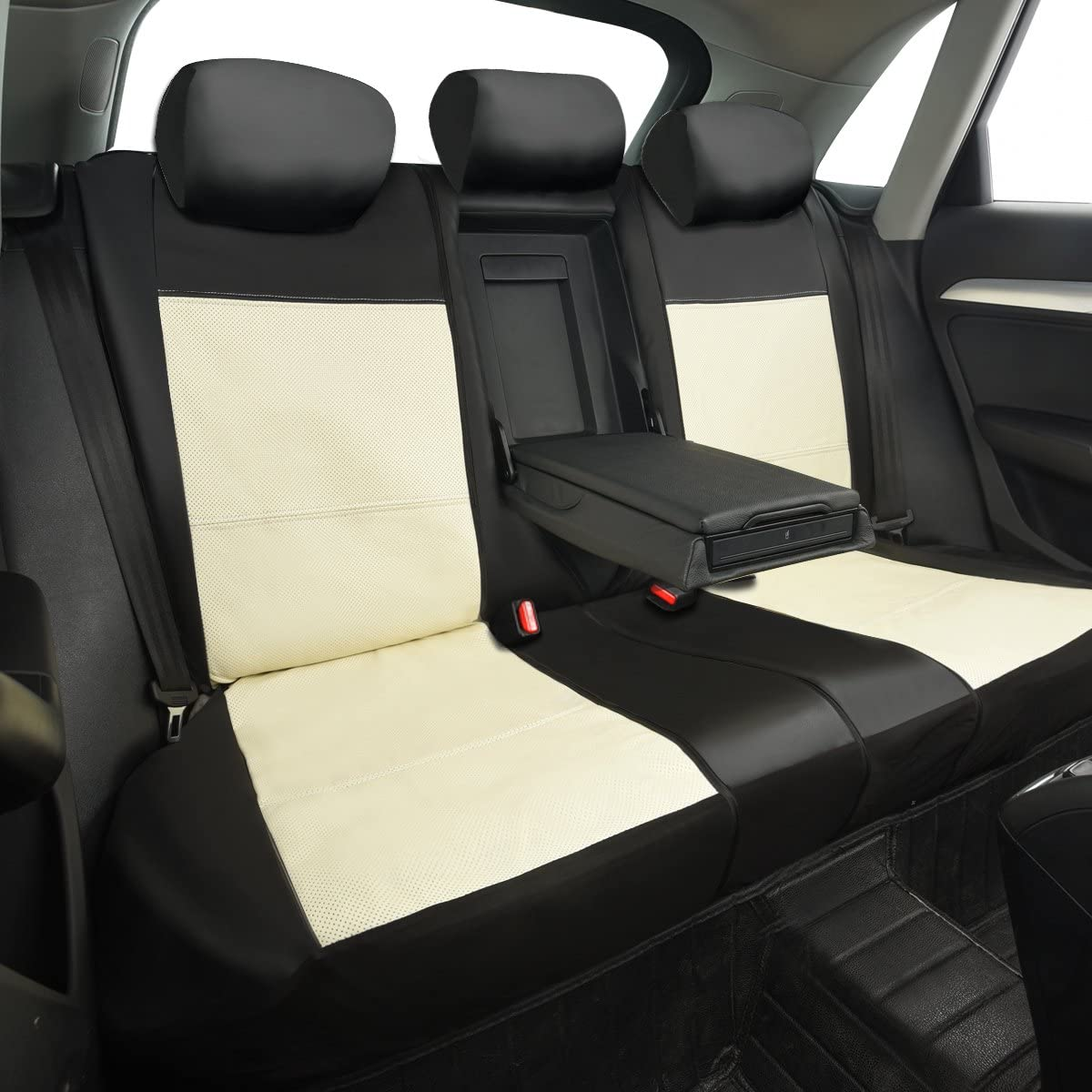 NEW ARRIVAL CAR PASS Skyline PU LEATHER CAR SEAT COVERS UNIVERSAL FIT FOR CARS,SUV,VEHICLES 11PCS, Black With Gray